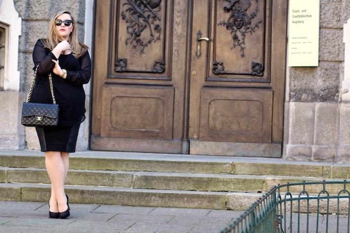 Plus Size Outfit mit Chanel Handtasche Flap Bag