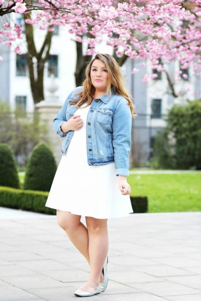 Plus Size Outfit weißes Kleid