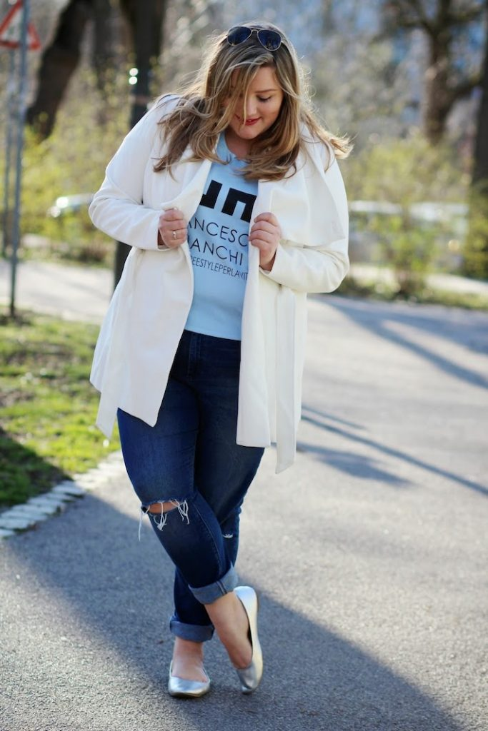 Plus Size Outfit weißer Mantel