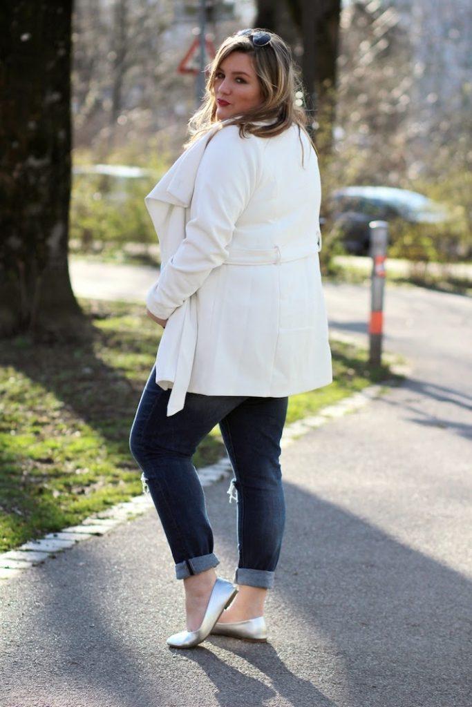 plus size white coat