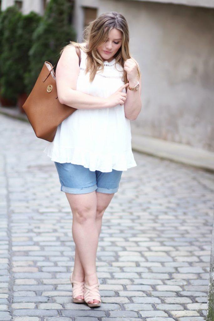 Zizzi Plus Size Outfit  weiß und shorts
