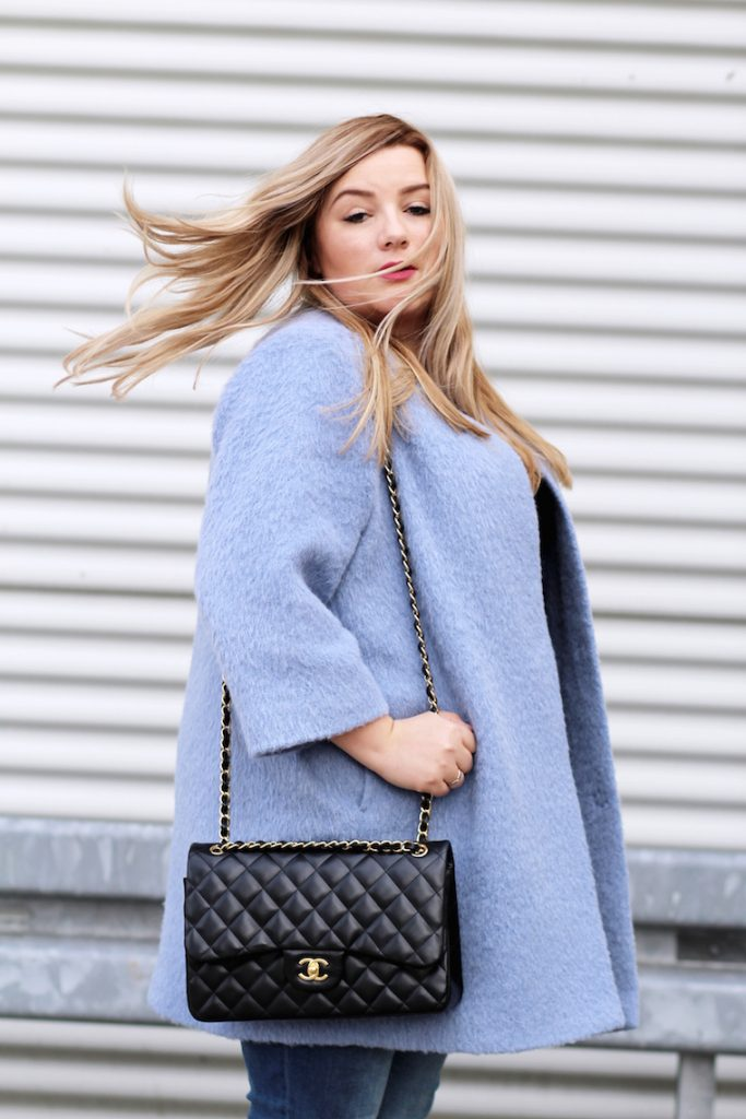 chanel bag blue coat