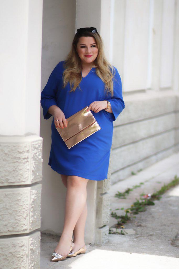 plus size kleid blau